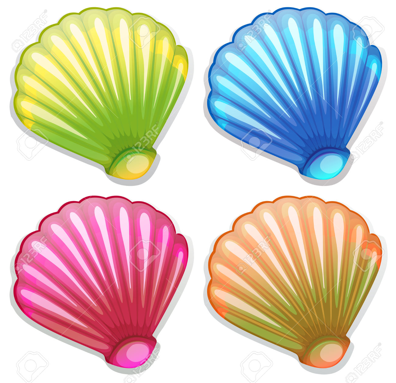 Colorful seashell clipart