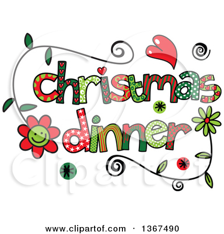 Colorful Sketched Christmas Dinner Word Art by Prawny