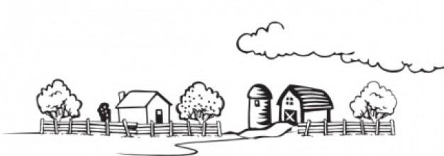 Coloring book farm landscape .