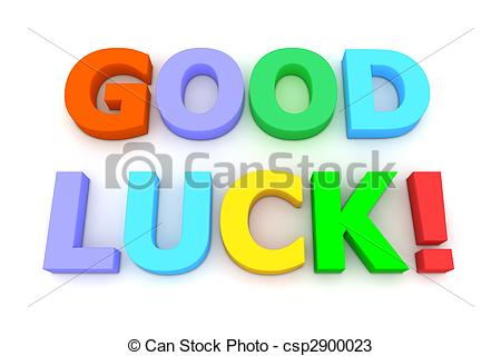 Colourful Good Luck - multicoloured letters Good Luck! on.