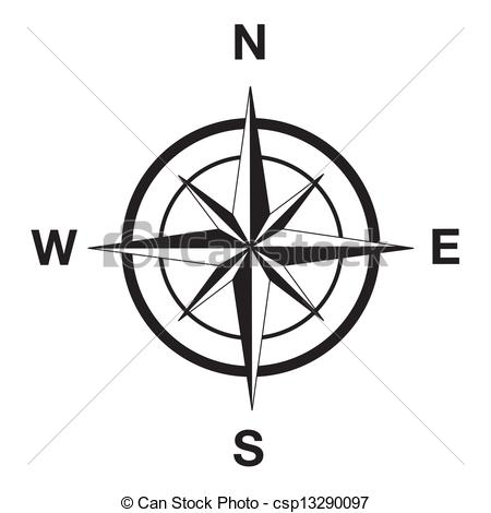 ... Compass silhouette in black - Compass clipart silhouette in.