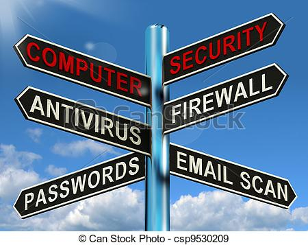 ... Computer Security Signpost Shows Laptop Internet Safety -.