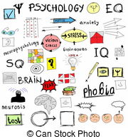 ... concept psychology, color doodle icons and symbols