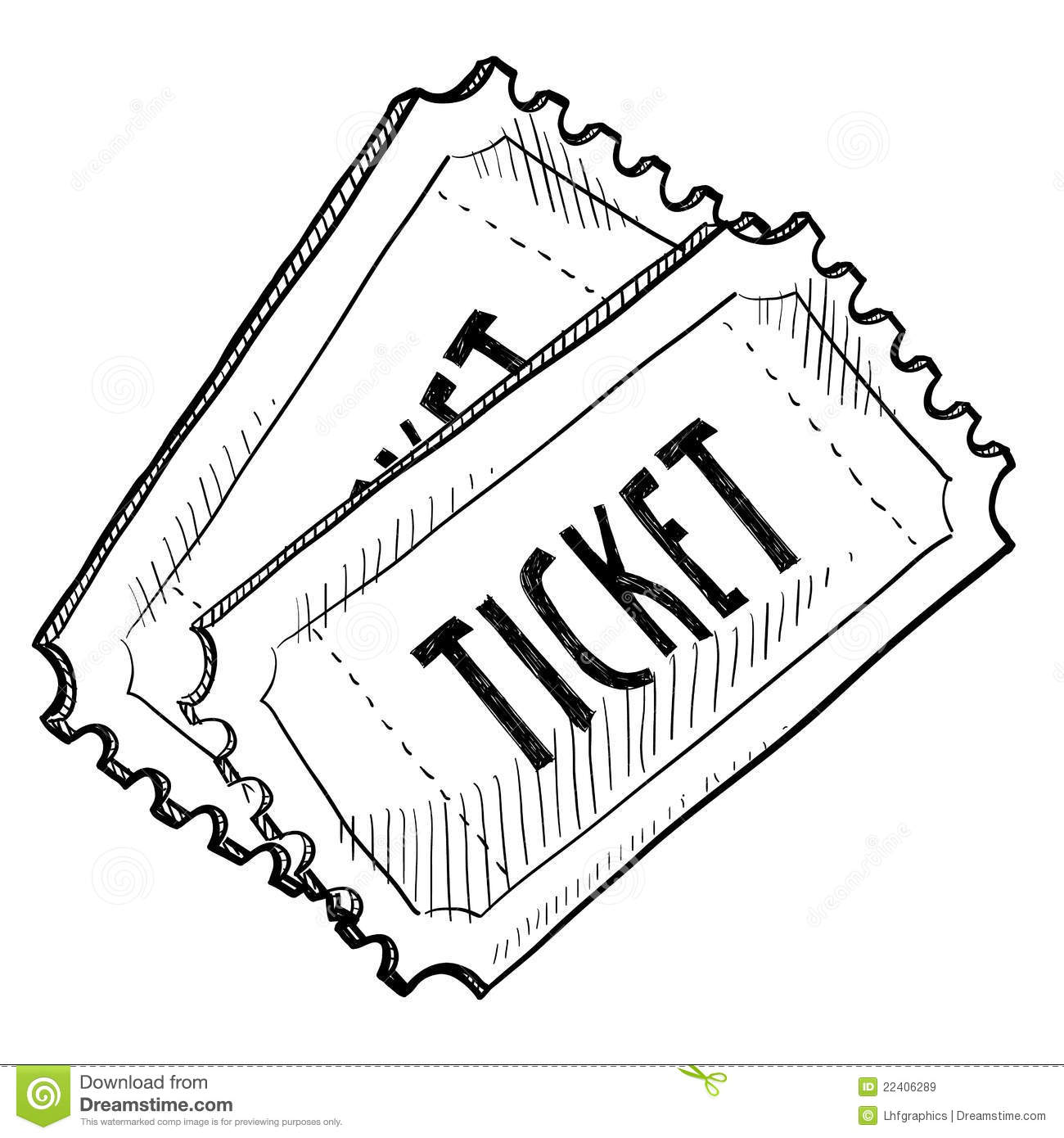 Concert or event ticket drawing Royalty Free Stock Images