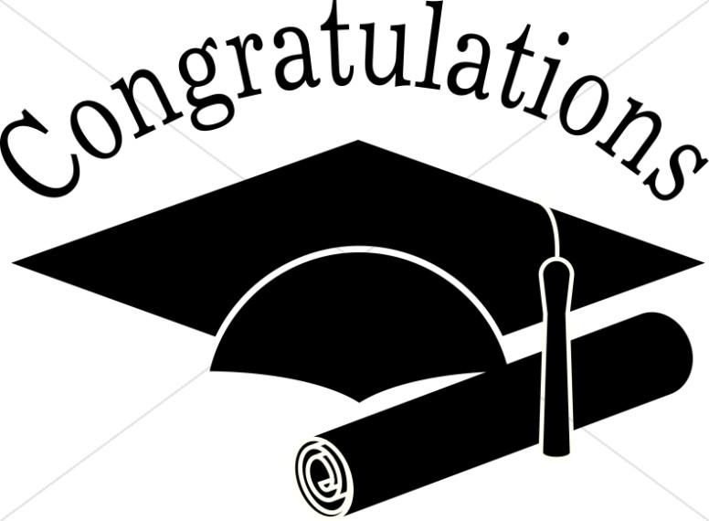 Congratulations Grads Black and White Clip art