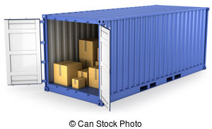 Blue opened container with carton boxes inside, isolated on.