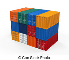 . ClipartLook.com Stacked Shipping Container isolated on white background. 3D.