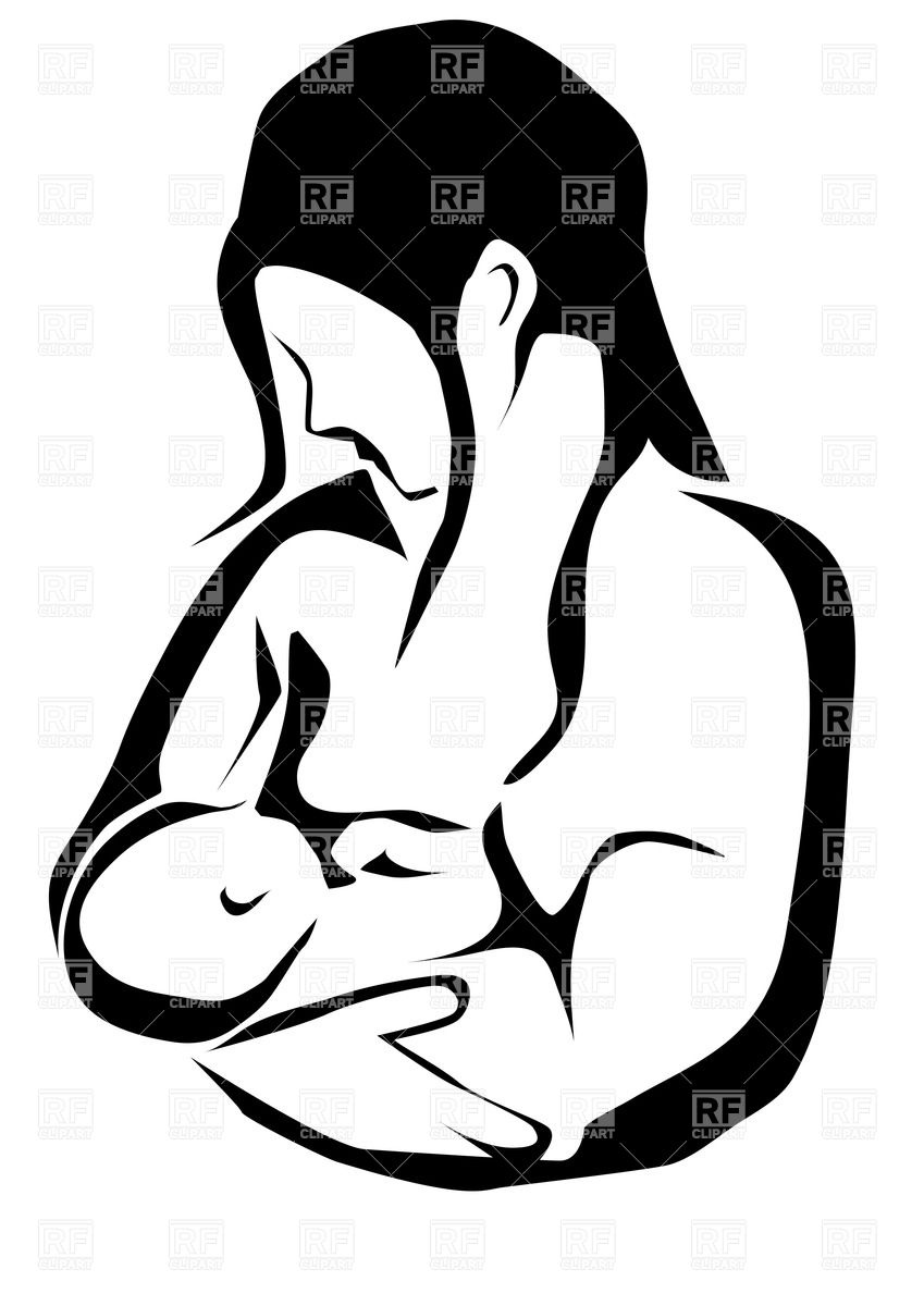 Contour of mother and baby - breast feeding scene. Click to zoom