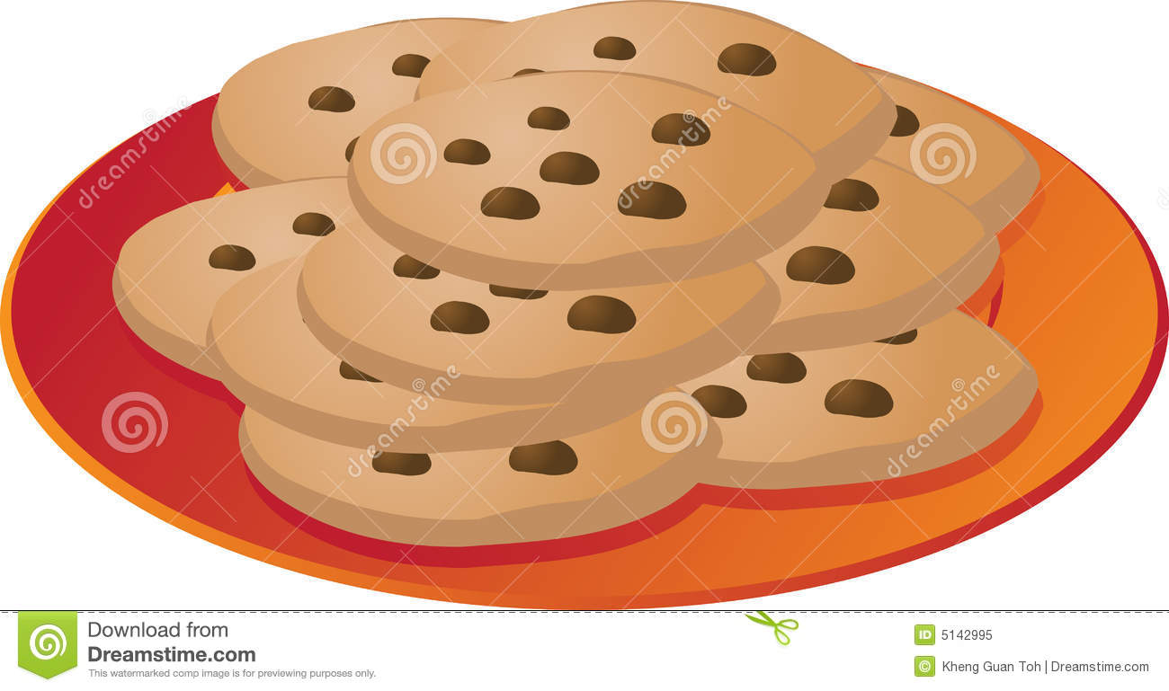 Cookies Clip Art. Chcocolate Chip Cookies On Plate Illustrationvector Illustration