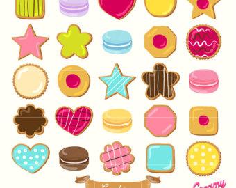 Cookies Digital Vector Clip art / Biscuit Digital Clipart Design Illustration / Jam Cookies, Macaroon, Macaron / Sugar /Download