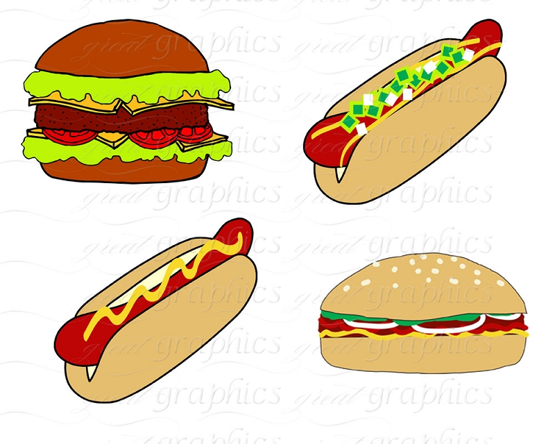 Cookout Clip Art Outdoor Party Clip Art Digital Hamburger Hotdog