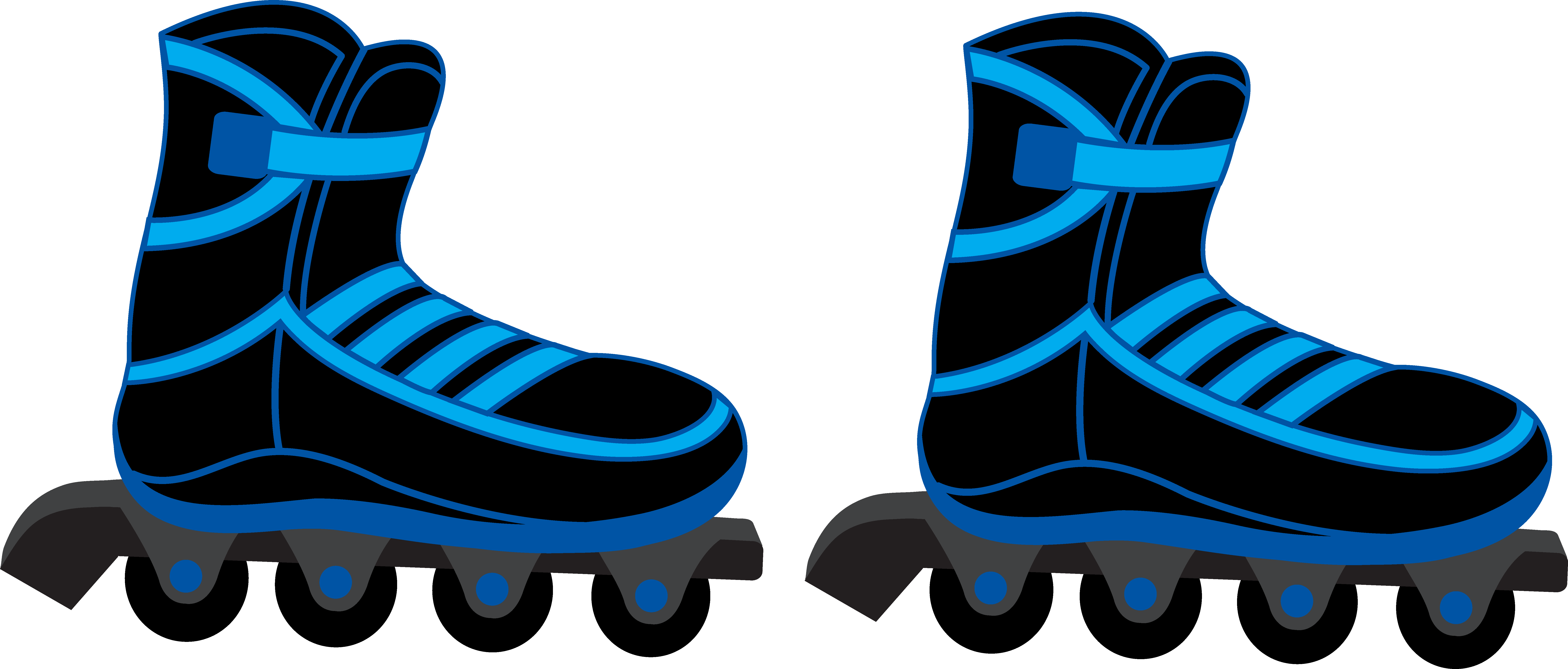 Cool Blue And Black Rollerblades - Free -Cool Blue and Black Rollerblades - Free Clip Art-1