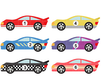 Cool Race Cars Digital Clip Art for Scrapbooking Card Making Cupcake Toppers Paper Crafts