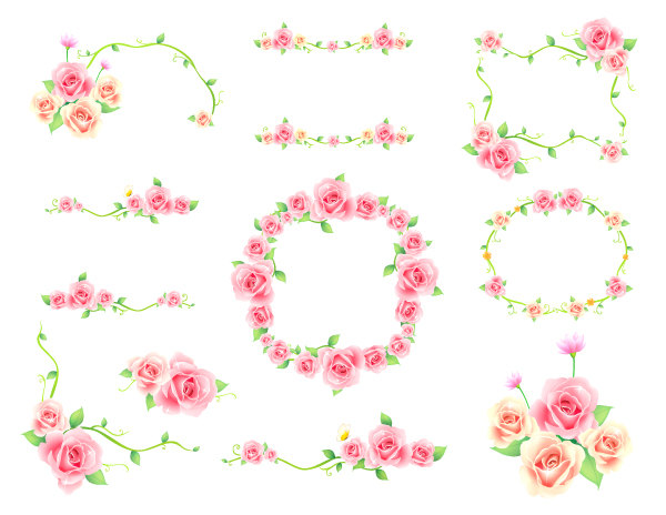 Coral Flower Border Clipart