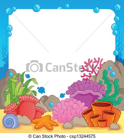 Coral reef fish set Clipartby csuzda0/3; Coral reef theme frame 1 - vector illustration.