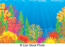 ... Coral reef - Underwater background with colorful corals of a.