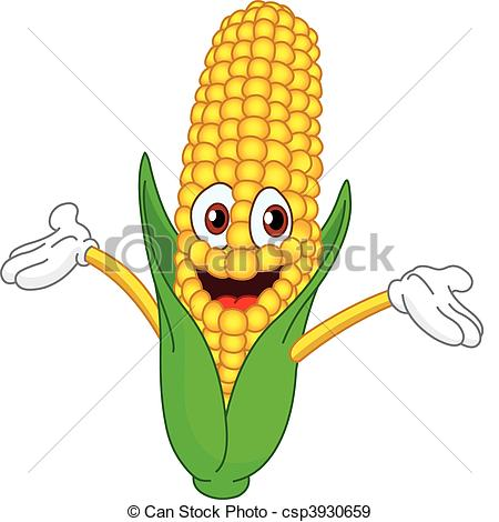 ... Corn - Cheerful cartoon corn raising his hands