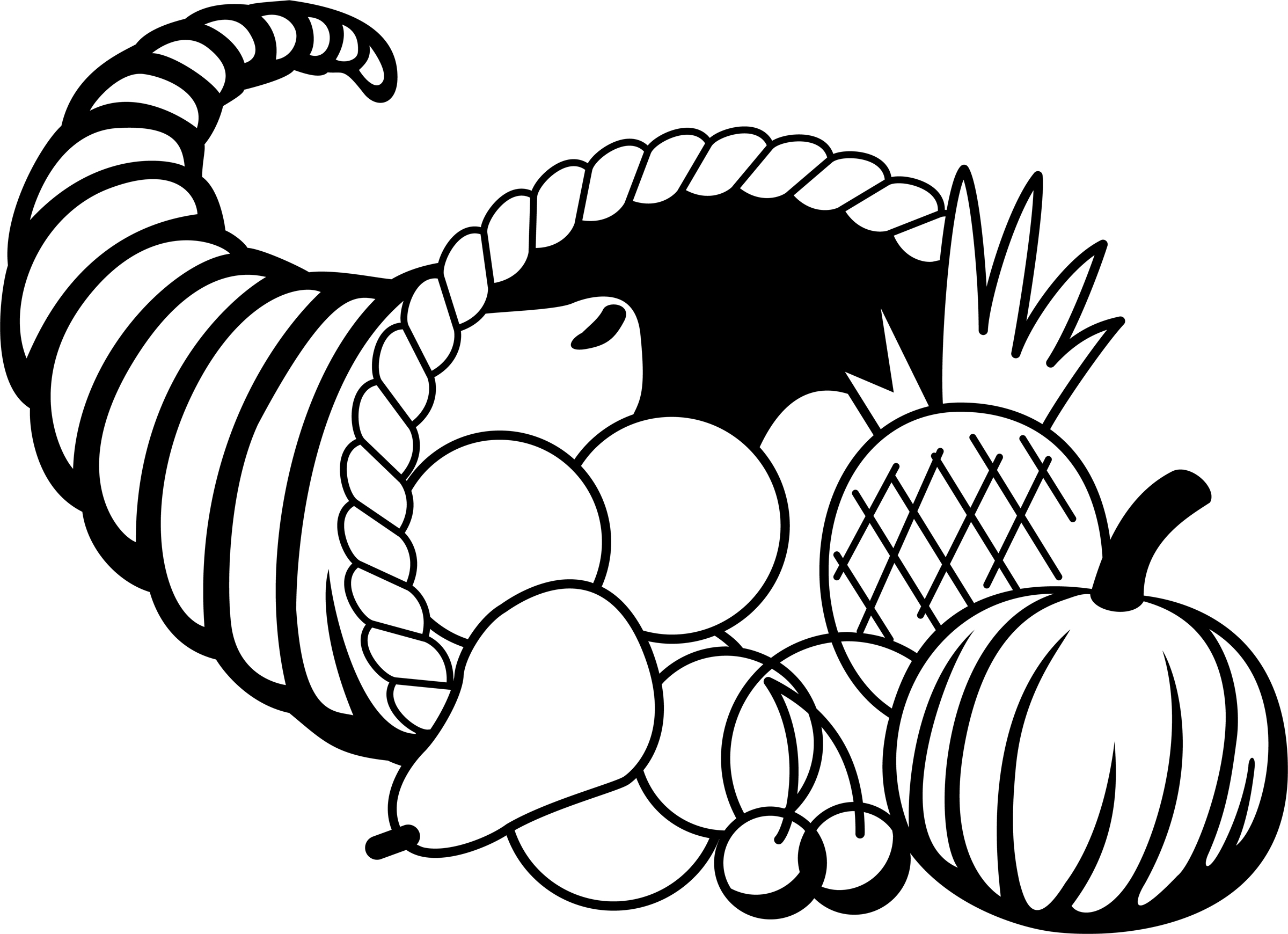 Cornucopia Clip Art - Thanksgiving Clip Art Black And White