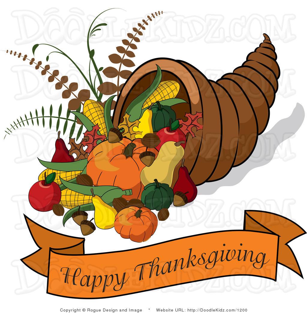 Cornucopia With A Happy Thanksgiving Ban-Cornucopia With A Happy Thanksgiving Banner By Pams Clipart 1200-7