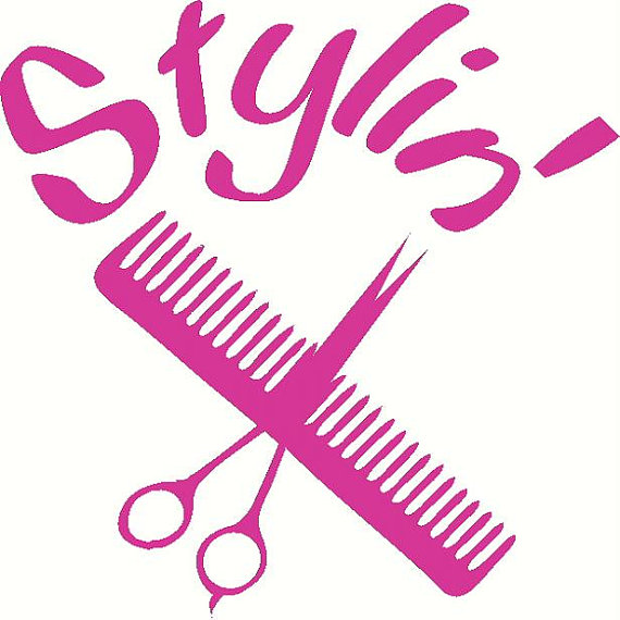 Cosmetology Hair Stylist Scissors Vinyl Decal Sticker Laptop Auto