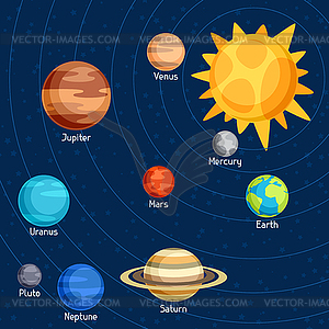 Cosmic With Planets Of Solar System Vect-Cosmic With Planets Of Solar System Vector Clip Art-0