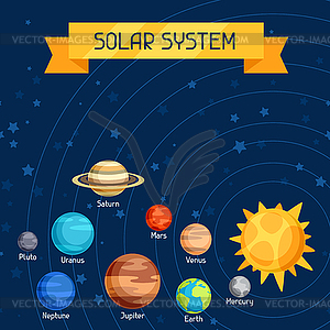 Cosmic with planets of solar system - vector clipart