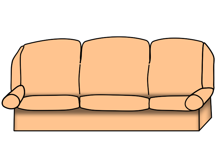 couch clipart black and white