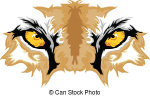 Cougar Eyes Mascot Graphic - Graphic Team Mascot Image of.