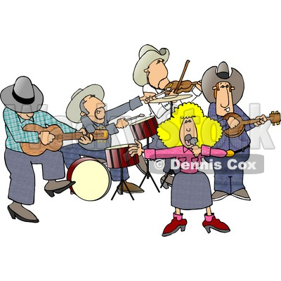 Country Western Band Playing Country Music Clipart by Dennis Cox