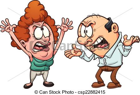 ... Couple arguing - Middle aged couple arguing. Vector clip art.