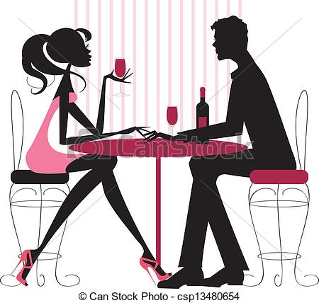 ... Couple sharing romantic dinner - Sil-... Couple sharing romantic dinner - Silhouete in pinks and.-15