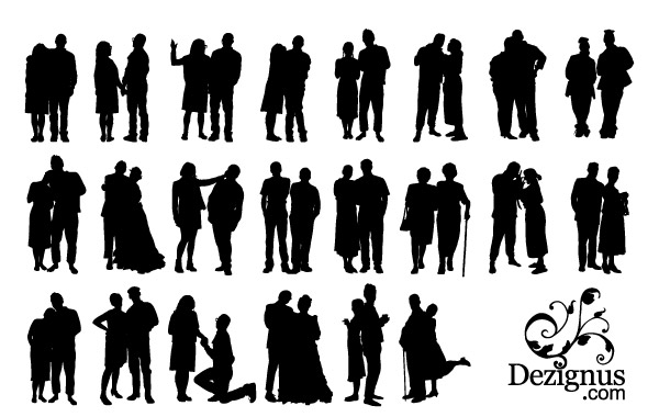 Couple Silhouette Clipart Free Vector