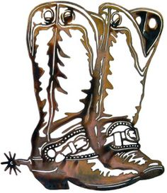 Cowboy boot rodio clip art western cowboy and saddle horseshoe metal wall