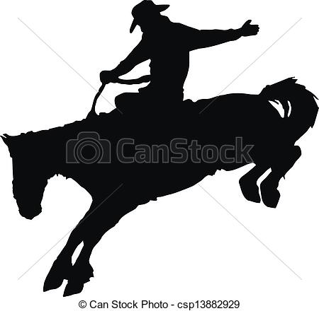 ... Cowboy riding horse at rodeo. - Vector silhouette of cowboy.