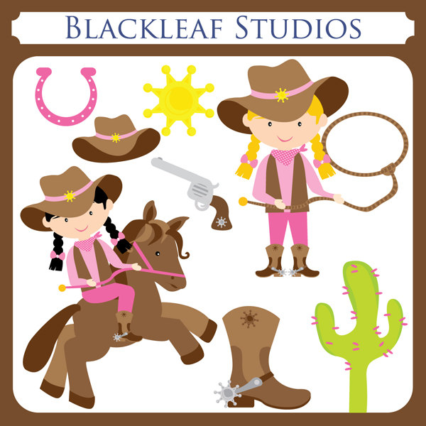 CowGirl Clipart Set Digital Images Downl-CowGirl Clipart Set Digital Images Downloads by HappyDesignCo-13