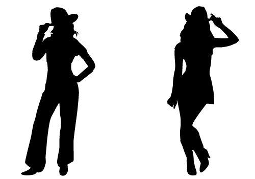 Cowgirl Silhouette Vector Free .