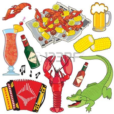 crawfish: Cajun Food, Music and drinks clipart icons and elements Illustration