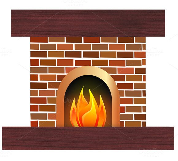 Creativemarket Fireplace Illu - Fireplace Clip Art