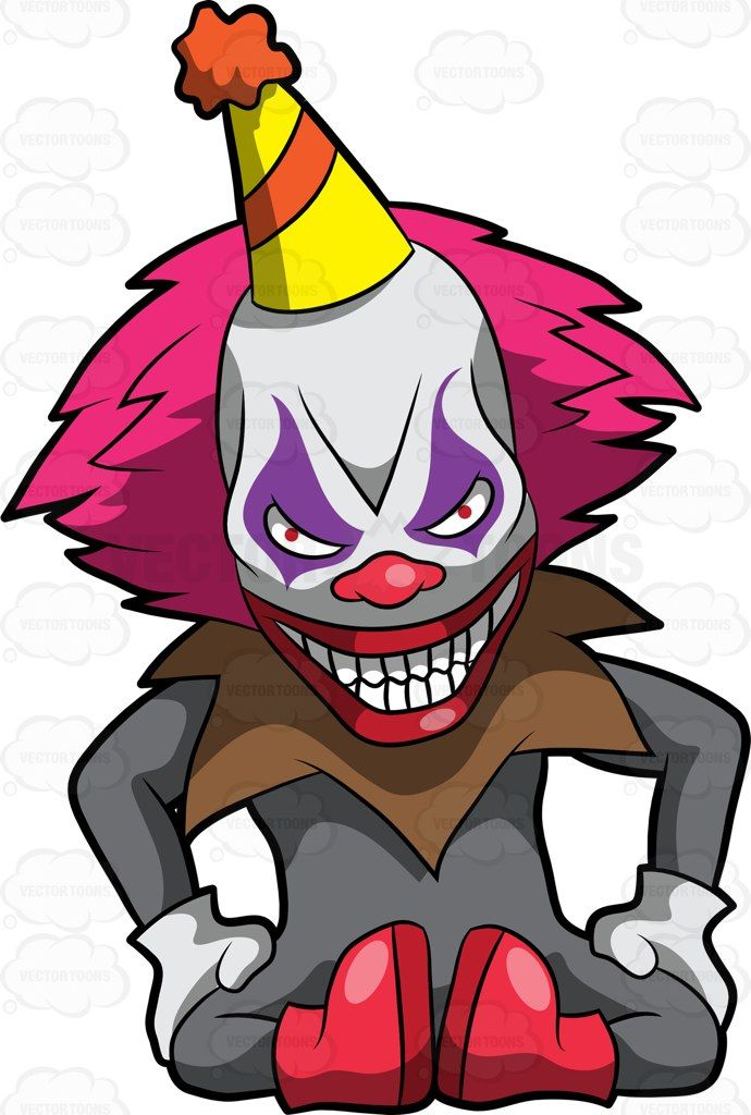 A creepy and frightening clown sitting on the floor #cartoon #clipart  #vector #vectortoons #stockimage #stockart #art