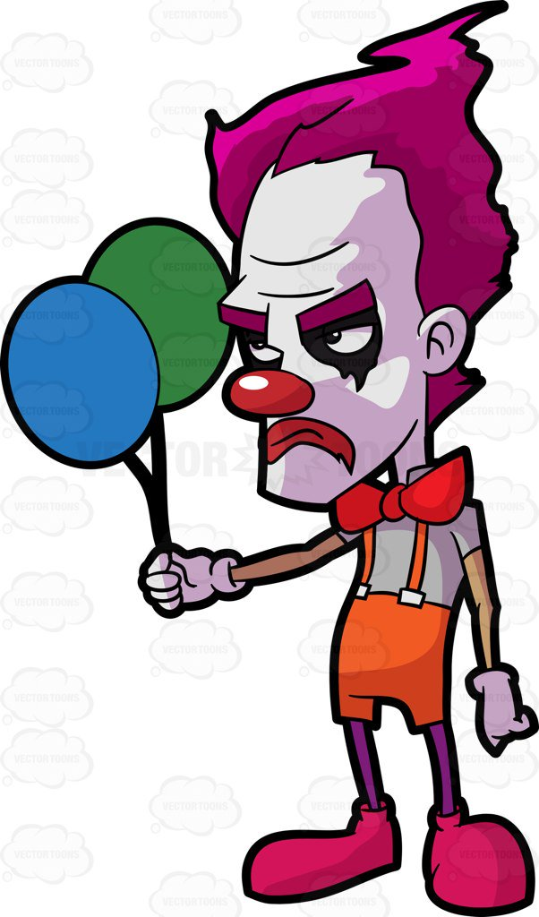 A creepy sad clown