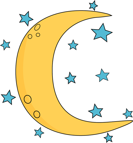 Crescent Moon and Stars Clip  - Moon Clip Art