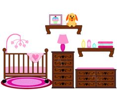 Crib Clip Art | Baby girl Nursery Crib Changing table digital clip art set, clipart