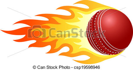 Flaming Cricket Ball Vector