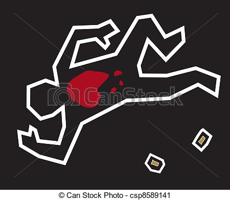 ... Crime Scene - A stylized illustration of a classic crime.