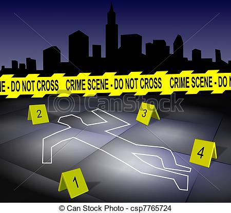 ... Crime scene in a city - A body outline drawn on a footpath.