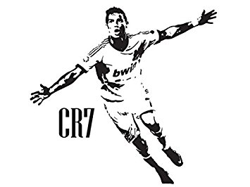 Cristiano Ronaldo CR7 Real Madrid Wall A-Cristiano Ronaldo CR7 Real Madrid Wall Art Decal Sticker-Black-Medium:  Amazon.co.uk: Kitchen u0026 Home-13
