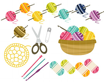 Crochet Fun Digital Clip Art for Scrapbooking Card Making Cupcake Toppers Paper Crafts