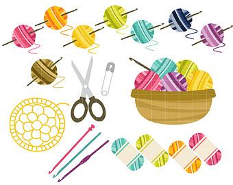 Crochet Fun Digital Clip Art for Scrapbooking Card Making Cupcake Toppers Paper Crafts