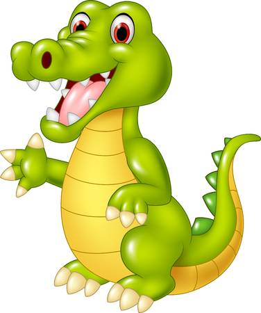 Vector Illustration Of Cartoon Funny Cro-Vector illustration of Cartoon funny crocodile waving hand isolated on  white background-16