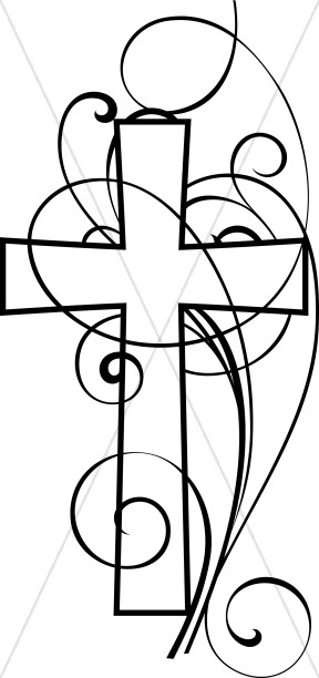 Cross And Swirls Black and White Christian Clipart
